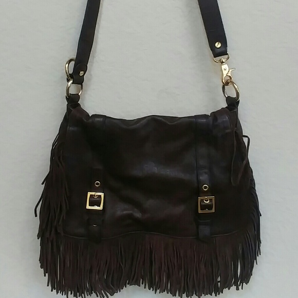 Authentic Tory Burch Fringe Flap Over Leather bag